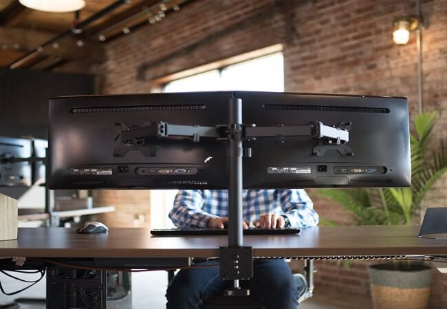 VIVO-Dual-LCD-LED-Monitor-Desk-Mount-Stand-with-C-clamp-and-Bolt-Through-Grommet-Options-Heavy-Duty-Fully-Adjustable