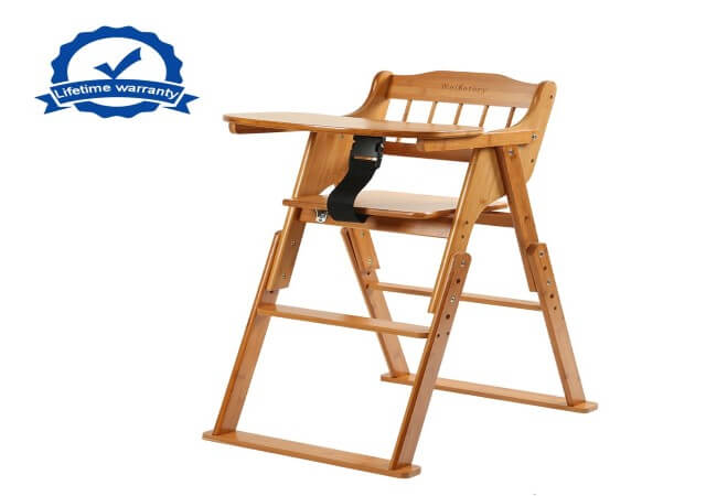 Wooden-Folding-Baby-High-Chair-with-Tray-Adjustable-Bamboo-Height-Chair