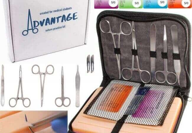 Advantage-Suture-Practice-Kit-for-Medical-Students-Skin-Like-Suture-Pad-Complete-Suture-Kit-with-Carrying-Case-Extra-Sutures-Stainless-Steel-Instruments