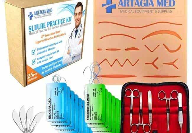 Complete-Suture-Practice-Kit-for-Suture-Training-Including-Large-Silicone-Suture-Pad-with-pre-Cut-Wounds-and-Suture-Tool-kit-25-Pieces