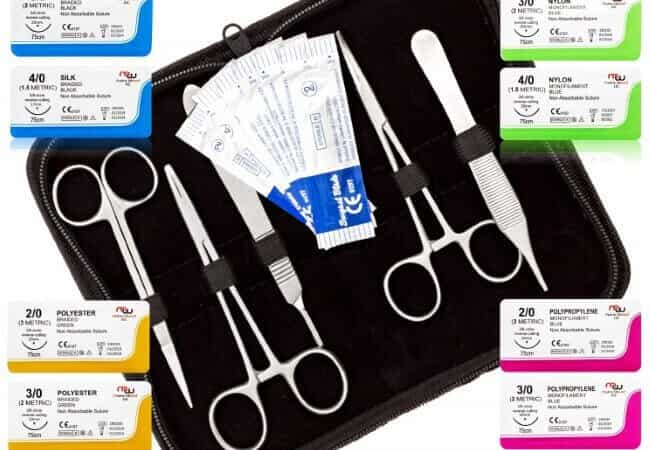 Mixed-Suture-Threads-with-Needle-Tools-for-Medical-Student's-Suture-Kit