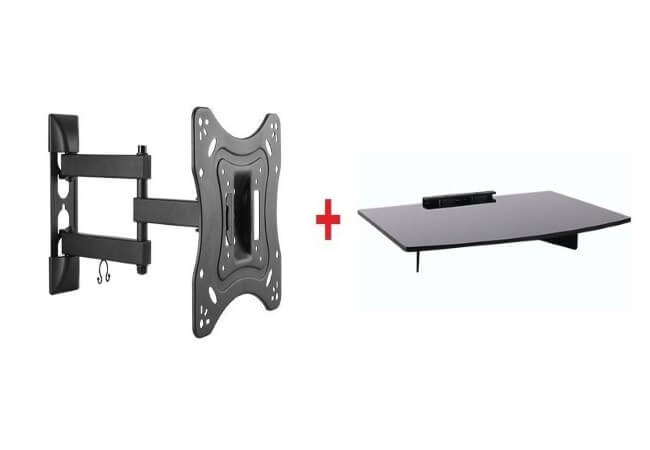 Mount-Plus-1095-31-Tilt-Swivel-Corner-Wall-Mount-with-Bundle-Single-Glass-shelf-of-Cable-Box-DVD-Player-Stereo-Components-for-Most-23-to-42