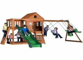 Backyard-Discovery-Pacific-View-All-Cedar-Wood-Playset-Swing-Set